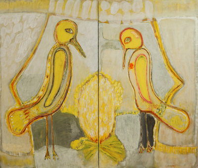 Benoit Delhomme - Birds because i could not paint persons anymore - The couple's separation, 2 panels 195 x 228 cm, Oil on canvas